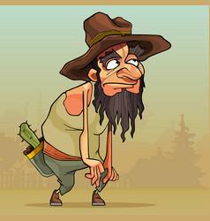 Cartoon man with beard in an old hat sneaks vector