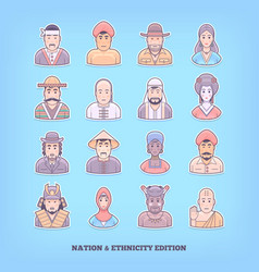 Cartoon people icons nation race ethnicity vector
