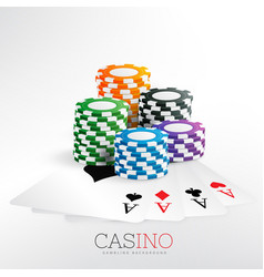casino gaming chips with playing cards vector image