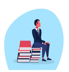 casual man sitting book stack brainstorming vector image