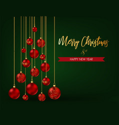 christmas tree made christmas balls on green vector image