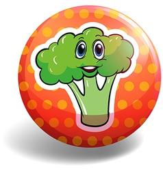 Circular badge with broccoli vector