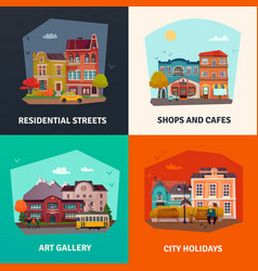 City buildings concept icons set vector