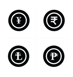 Coins icons set yens rupee lira ruble vector