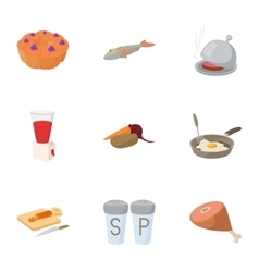 Cooking icons set cartoon style vector image