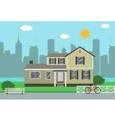 Cottage house building Traditional house Flat vector