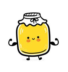 Cute funny kombucha jar character show muscle vector