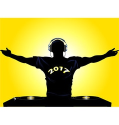 DJ shilouette with 2017 t shirt vector image
