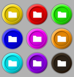 Document folder icon sign symbol on nine round vector