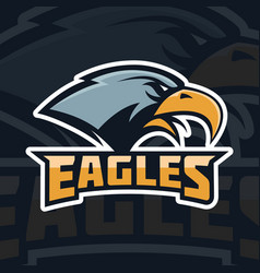 Eagles emblem template with eagle head sport team vector