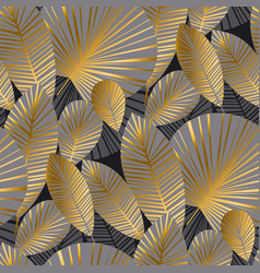 Elegant gold exotic leaves seamless pattern vector