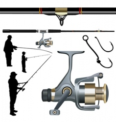fishing rod reel hook vector image