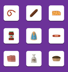 Flat icon food set of bratwurst sack ketchup and vector