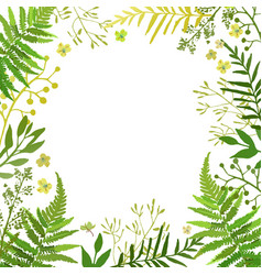 frame with leaves floral set with hand vector image