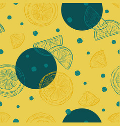 fresh lemons background seamless pattern hand vector image
