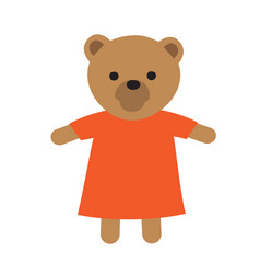 Funny toy icon of bear in dress vector