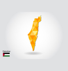 Geometric polygonal style map of palestine low vector