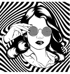 hand drawn of pretty girl in sunglasses surreal vector image