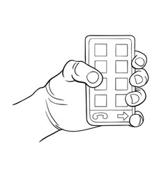 hand holding smart phone black and white vector image