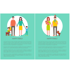 happy family poster text sample people in circle vector image