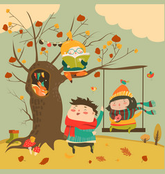 Happy kids ride on a swing in the autumn forest vector
