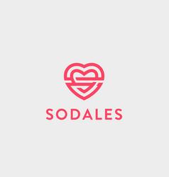 heart logo valentines day line logotype vector image