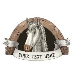 Horse farm logo hand draw vintage engraving style vector
