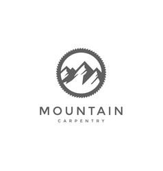 ice snow mountain gear adventure carpentry logo vector image