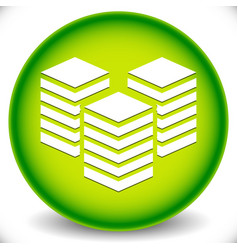 Icon with layered tower symbol for webhosting vector