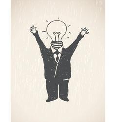 Idea Lamp Head Businessman vector