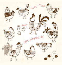 Images of chickens hens cocks eggs in vector