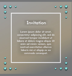 Invitation with blue brilliant postcard with vector