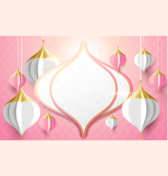 Islamic and asian lantern decoration paper art vector