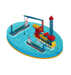 Isometric oil extraction in sea concept vector
