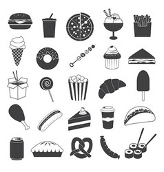 Junk Food Icons Collection vector