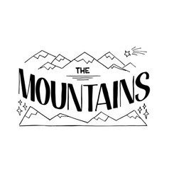 Lettering the mountains vector