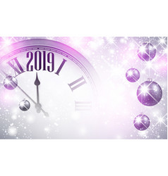 lilac shiny 2019 new year background with clock vector image