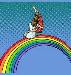 love men and women couple on the rainbow vector image