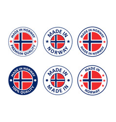 made in norway labels set made in kingdom of vector image