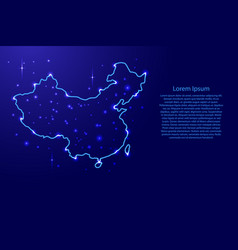 Map china from the contours network blue luminous vector