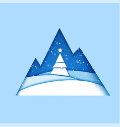 merry christmas greeting card origami winter vector image