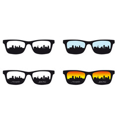 minneapolis saint paul reflected in eyeglass lens vector image