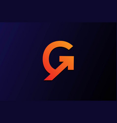 Modern initial letter g for grow growth up logo vector