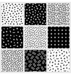 Monochrome geometric line seamless patterns vector image