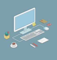 office workstation in flat style with a desktop vector image
