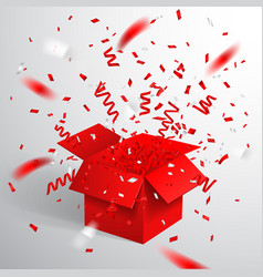 Open red gift box and confetti christmas and vector ...  sc 1 st  VectorStock : exploding gift box confetti - princetonregatta.org