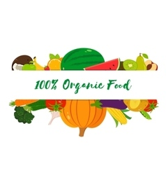 Organic fruits and vegetables template Healthy vector
