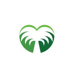 palm tree heart shape logo icon symbol vector image