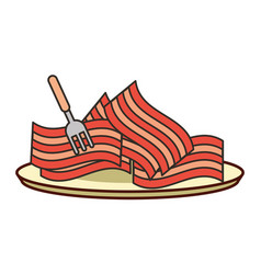 Pieces bacon fresh with fork food vector