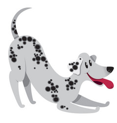 Playing cartoon dalmatian dog with smile vector